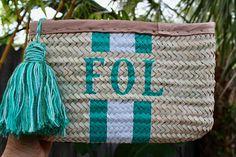 Monogrammed straw clutch personalized clutch customized