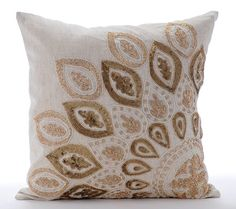 Natural Beige Pillow Covers Decorative Bed by TheHomeCentric