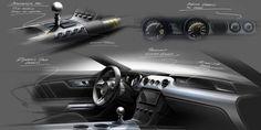 2015 Ford Mustang - Interior design sketches - Theme B Development - Car Body Design Car Interior Sketch, Car Interior Design, Interior Design Sketches, Truck Interior, Car Design Sketch, Car Sketch, Automotive Design, Design Cars, Tesla Interior