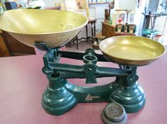 Vintage Imported English Librasco Green Cast Iron Kitchen Scale by PickeryPlace