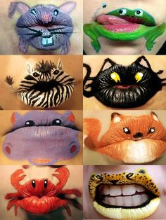 This lip art is so cool I especially thought the animals were cute I didn't even know you could that with your lips
