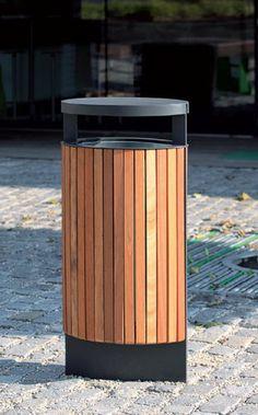 Cubo de basura público / de pie / de acero galvanizado / de aluminio fundido ECLIPE by David Karásek & Radek Hegmon mmcité 1 a.s.