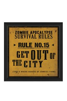 Zombie Apocalypse Survival Rules wall art