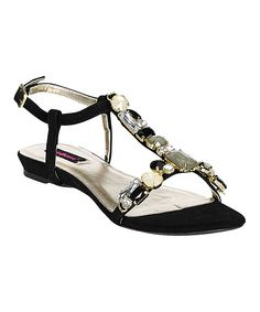 Black Whimsical Rhinestone Sandal