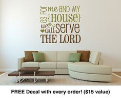 Living room decals as for me and my house 16 wide x 15 for 6 letter word for living room