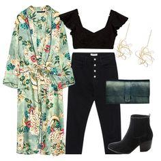 Kimono estampado, top encaje, botines y nuevos accesorios para llevar al estéreo picnic en el primer día de música y rumba.