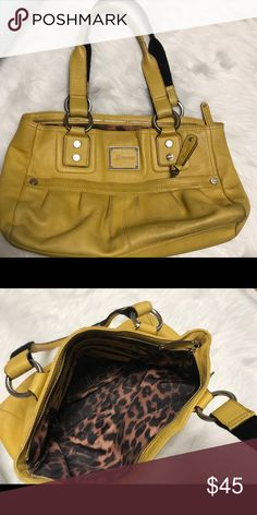 B Markowsky Yellow Medium Hobo Bag Beautiful preowned  B. MAKOWSKY yellow leather bag with nice chunky pewter-like hardware. Inside is clean and roomy, zipper pocket  and slot pockets. Gently used, soft leather. b. makowsky Bags Shoulder Bags