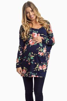 Navy Rose Garden Maternity Top