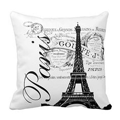 Must See! Beautifully Designed Vintage, Paris Eiffel Tower Throw Pillow Cover
