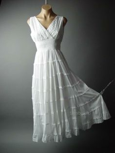 Peasant Boho Maiden Embroidered Chemise White Tiered Long Maxi 59 df Dress XL