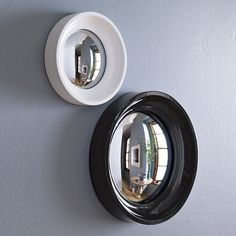 convex mirrors from west elm! Porthole Mirror, Convex Mirror, Mirror Tiles, Floor Mirror, Wall Mirrors, Rope Mirror, Security Mirrors, Antique Tiles, Wood Molding