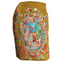 Gorgeous Todd Oldham Elaborately Embroidered Artwork Skirt | From a collection of rare vintage skirts at https://www.1stdibs.com/fashion/clothing/skirts/