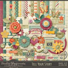 Tell your Story {Page kit} by Blagovesta Gosheva of Scrapbookgraphics is now available at 20% off. A beautiufl and versatile kit that includes 22 Papers and 62 Elements