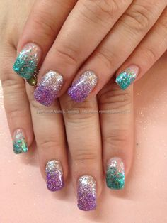 Purple And Silver Glitter Gradient Nail Art Throwback Dback nails