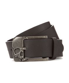 Black (Black) Black Skull Buckle Belt   270601101   New Look
