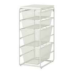Algot Frame With 4 Mesh Baskets Top Shelf White Depth 23 5 8 Height 40 1 Width 16 60 Cm 102 41