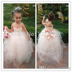 LM 2015 New Real Picture Kids Pretty Girl's Pageant Dresses Back bow beads Flower Girl Dress With Spaghetti Straps Draped