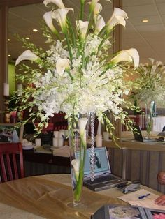 White Orchid with Calla Lilliies