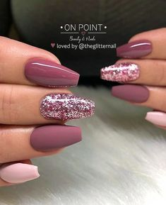 46 Elegant Acrylic Ombre Burgundy Coffin Nails Design For Short And Long Nails -. - 46 Elegant Acrylic Ombre Burgundy Coffin Nails Design For Short And Long Nails – Page 43 of 46 - Mauve Nails, Burgundy Nails, Ombre Burgundy, Burgundy Nail Designs, Dark Pink Nails, Pink Gel Nails, Pink Manicure, Glitter Gel Nails, Sparkly Nails