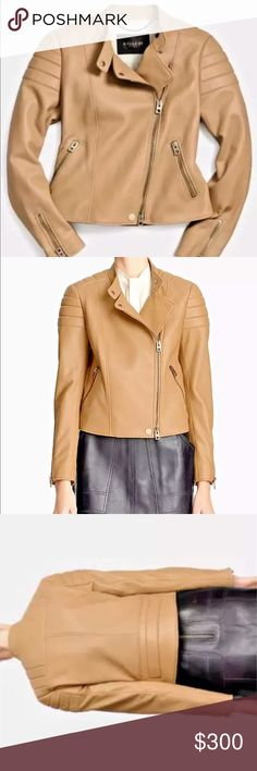 Coach Genuine Leather Caramel Moto Jacket NWT 0 SM Coach Genuine Leather Caramel Moto Jacket NWT 0 SM  This is an AMAZING leather jacket from a top tier designer. You can wear this moto leather jacket with literally anything- from jeans and a tee to a chic LBD. It is easy to wear year round because of the rich caramel color and the high quality leather (keeps you warm in the winter and breathes in the summer).  You NEED this jacket.   Details: by Coach Brand new, tags attached MSRP $1195…