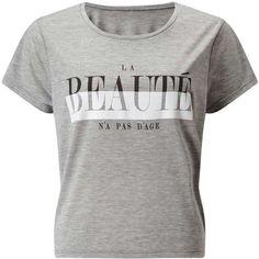 Miss Selfridge Grey La Beaute Tee ($28) ❤ liked on Polyvore featuring tops, t-shirts, grey, slogan t shirts, scoop neck tee, slogan tees, gray top and short sleeve scoop neck tee