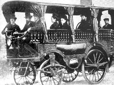 1875 Autobus Steam built by Amedee Bollee It carried 12 passengers and had a cruising speed of 30 km/h (19 mph) and a top speed of 40 km/h (25 mph) & was driven by two V-twin steam engines, one for each rear wheel.
