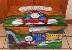 Have a Custom Inspired Thomas the train toy box designed toy chest painted especially for you! I can paint it to complement any room theme.