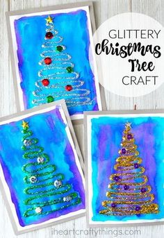 All of the different process and textures of this glittery Christmas tree craft makes this an awesome Christmas craft for kids. #christmascrafts #christmascraftideas #ChristmasCraft #christmascraftprojectswithkids #kidscraftideas #kidcrafts