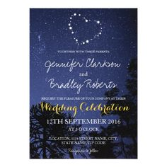 Shop Modern Night Blue Yellow Heart Stars Wedding Invitation created by special_stationery. Star Wedding, Wedding Sets, Wedding Cards, Wedding Programs, Trendy Wedding, Yellow Wedding Invitations, Custom Wedding Invitations, Colorado Wedding Venues, Inexpensive Wedding Venues