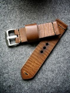 Tan ammo handmade leather watch strap, Bas and Lokes
