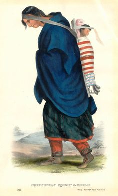 * Squawand Child, Ojibwa Woman and Child *  Litografia. (by Charles Bird King).