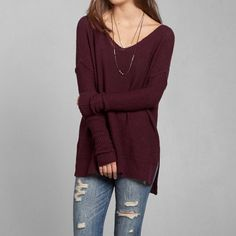 Abercrombie & Fitch APRIL SWEATER - burgundy