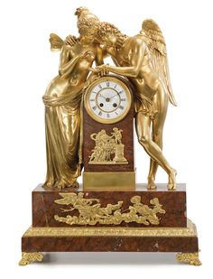 """CUPID AND PSYCHE,"" A LARGE EMPIRE STYLE GILT BRONZE MOUNTED ROUGE GRIOTTE MARBLE MANTEL CLOCK IN THE MANNER OF CLAUDE MICHALLON<br><P>Paris, last quarter 19th century</P> 