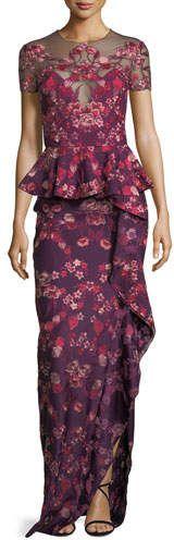 Floral Scuba-Knit Peplum Gown #hem#shoulder#Jewel