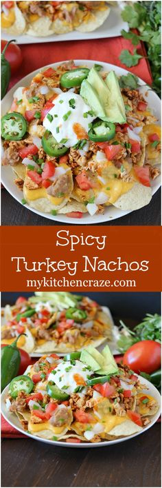 Spicy Turkey Nachos ~ mykitchencraze.com ~ Perfect way to use up the leftover turkey from Thanksgiving. Plus they're delicious and a breeze to whip up!: