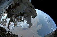"""Ron Garan just added on Google+ some photos to his """"EVA"""" (spacewalk) album from the last Space Shuttle based spacewalk in the International Space Station program. Some are pics that Mike Fossum took of Garan while they were outside and some were taken by Garan himself that show Space Shuttle Atlantis docked to the International Space Station for the last time. More to follow..."""