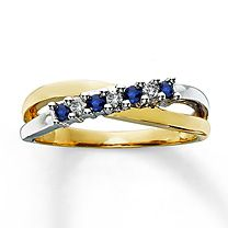 10K Two-Tone Gold Diamond and Sapphire Ring -- 3 Diamonds 1/15ct, color HIJ, Clarity I2-I3 -- 4 Sapphires (natural)