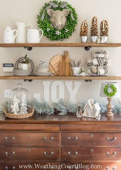Rustic Farmhouse Kitchen Shelves Decorated For Christmas Could use this setup in leu of a dining hutch (dresser and grooved shelves for the China. Rustic Kitchen, Rustic Farmhouse, Kitchen Decor, Industrial Farmhouse, Kitchen Colors, Rustic Cafe, Rustic Logo, Rustic Restaurant, Rustic Cottage
