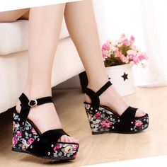 Bohemian style women's sandals casual open toe ladies shoes Wedges Thick crust women shoes