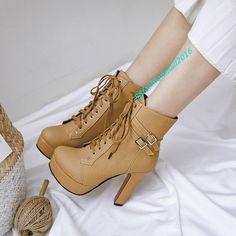 30-50 Damenschuhe Schwarz Braun Stiefel Ankle Boots Stiefeletten Plateau Pumps
