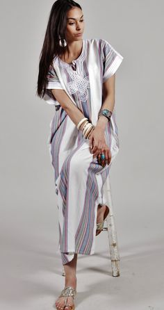 Spring Summer Trendy Clothing White Caftan by MaisonMarrakech