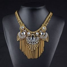Necklaces : Gold Plated Rhinestone Statement Choker