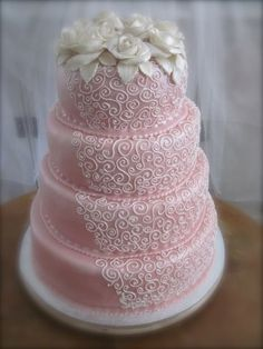 I love intricate wedding cakes and despise modern, minimalist ones. If I ever got married, I wouldn't mind having this cake. OP: A pink lace wedding cake! Can you believe how delicate and elegant it looks? Elegant Wedding Cakes, Beautiful Wedding Cakes, Gorgeous Cakes, Wedding Cake Designs, Pretty Cakes, Lace Wedding, Elegant Cakes, Purple Wedding, Amazing Cakes