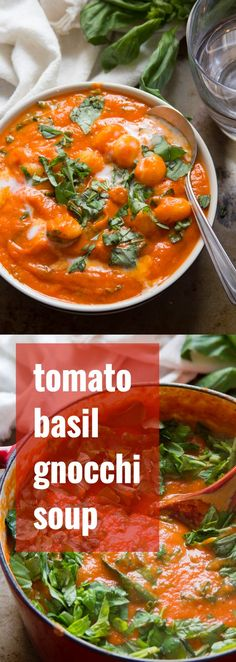Tender potato pasta dumplings swim in a creamy but dairy-free tomato base with fresh basil in this decadent and delicious vegan tomato gnocchi soup.