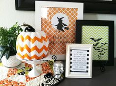 These fun printables make a huge Halloween statement in our home for very little money. The frames I gathered from around the house a...