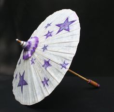 Parasol with purple and silver stars airbrushed in opalescent purple and metallic silver paints on Ivory paper $49.00 www.designAnn.etsy.com