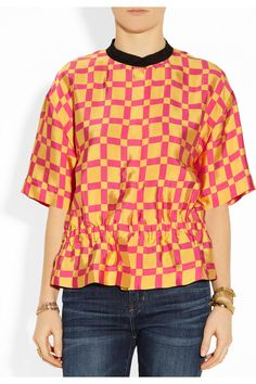 Marni | Printed sateen-twill blouse | NET-A-PORTER.COM