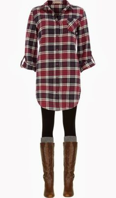 Long plaid boyfriend shirt, leggings, knee socks and boots. Long plaid boyfriend shirt, leggings, knee socks and boots. Looks Style, Looks Cool, Style Me, Girl Style, Mode Outfits, Casual Outfits, Fashion Outfits, Womens Fashion, Fashion Ideas