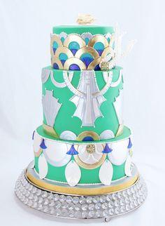 Emerald and gold art deco wedding cake
