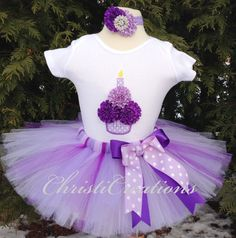First Birthday Tutu Outfit--Purple--3D Cupcake--Baby Girl 1st Birthday Tutu Set--Photo Prop
